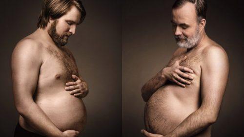 Zwangere mannen tonen hun bierbuik